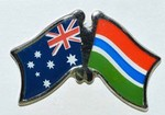 Australia/GambiaCrossed Flag Pin, Friendship Pin, Double Pin, wear twin pin in your lapel, affordable gifts for friends, at meetings, overseas students,