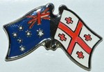 Australia/Georgia Crossed Flag Badge, Pin, Hat Pin, Anstecknadel