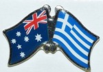 Twin Pin Australia/Greece, Crossed Flag Pin