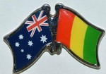 Australia/Guinea Crossed Flag Pin, double pin, friendship pin, twin pin for your hat, show off your heritage by wearing crossed flag pin in your lapel,