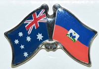 Crossed flag pin Australia/Haiti, Friendship Pin, dual Flag Pin