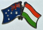 Twin Pin Australia/Hungary, Crossed Flag Pin