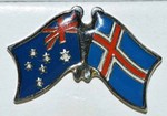 Twin Pin, Australia/Iceland, Crossed Flag Pin