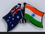 Twin Pin Australia/India, Crossed Flag Pin