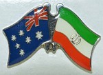 Twin Pin Australia/Iran Crossed Flag Pin