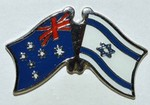 Twin Pin Asutralia/Israel, Crossed Flag Pin, dual Pin australia/Israel,
