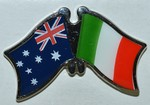 Twin Pin Australia/Italy Crossed Flag Pin, Friendship Pin australia/Italy