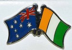 Australia/Ivory Coast crossed flag pin, double pin, Friendship pin australia/Cote d'Ivory, twin pin,