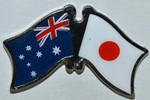 Twin Pin Australia/Japan, Crossed Flag Pin