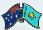 Australia/Kazakhstan Flag Badge, Friendship Hat Pin, Love both Country Pin