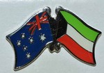 Australia/Kuwait Crossed Flag Badge, double pin, friendship pin