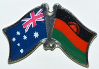 Australia/Malawi Crossed Flag Badge, Friendship Pin, Double Pin