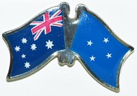Australia/Micronesia Crossed Flag Pin, Double Pin Australia micronesia, Flag Badges, Anstecknadel, hat Pin, Hut Nadel