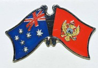 Australia/Montenegro Crossed Flag Pin, Double Pin, Love Both Countries Pin