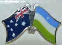 Australia/Puntland Friendship Pin, double pin, crossed flag pin, love both country pin,