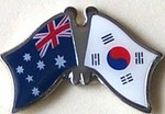 Twin Pin Australia/Korea South, Crossed Flag Pin