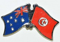 Australia/Tunisia Crossed Flag Pin, Double Pin, Friendship Badge, Anstecknadel