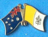 Crossed flag pin Australia/Vatican, Friendship Pin, dual Flag Pin