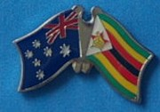 Crossed flag pin Australia/Zimbabwe, Friendship Pin, dual Flag Pin Zimbabwe,