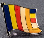 Buddhist Flag Pin, Novelty Pin, Flag Badge Buddhist, collect pins, Hat Pin, Anstecknadel,