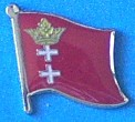 Danzig Historical Flag Badge, Lapel Pin, hat Pin, Anstecknadel,