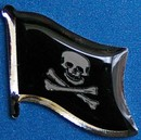 Jolly Roger Flag Badge, Historical Pin, Pirate Pin, hat Pin, Anstecknadel,