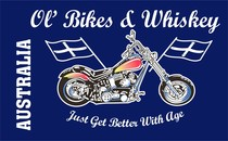 Ol Bikes & Whiskey, Novelty flag, Collectors flag