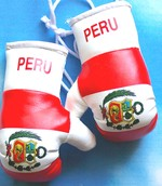 Peru Mini boxing gloves, Mascot for your rear view mirror,