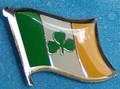 Shemrock flag Pin, Irish for luck, wear at your wedding day, Flag Badge for good luck,