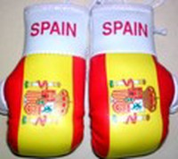 Spain Mini boxing gloves, Mascot for your rear view mirror,