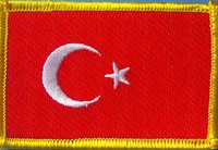 Tuerkey Flag Patch, country patch, embroidered flag patch Turkey