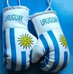 Uruguay Mini boxing gloves, Mascot for your rear view mirror,
